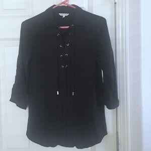 Naked Zebra brand black lace up blouse from Vici